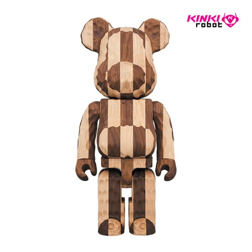 400%BEARBRICK KARIMOKU FRAGMENTDESIGN CARVED WOODEN LONGITUDINAL CHESS