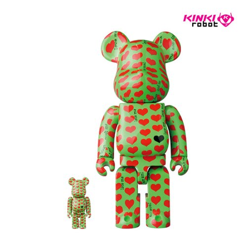 400%+100%BEARBRICK GREEN HEART