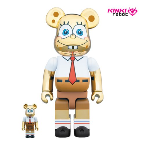 400%+100%BEARBRICK SPONGE BOB GOLD CHROME